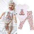 Newborn Muchacha Infantil del Bebé Del Mono Floral Pantalones Casual 2 unids Ropa Mono Trajes Ropa Sunsuit Verano