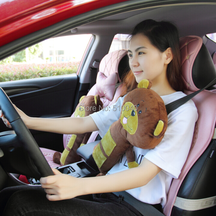 Seat Belt Animal Pillow As Seen On Tv : Free shipping plush Child tan dog seat pets and seat belt pillow cover for Christmas birthday ...