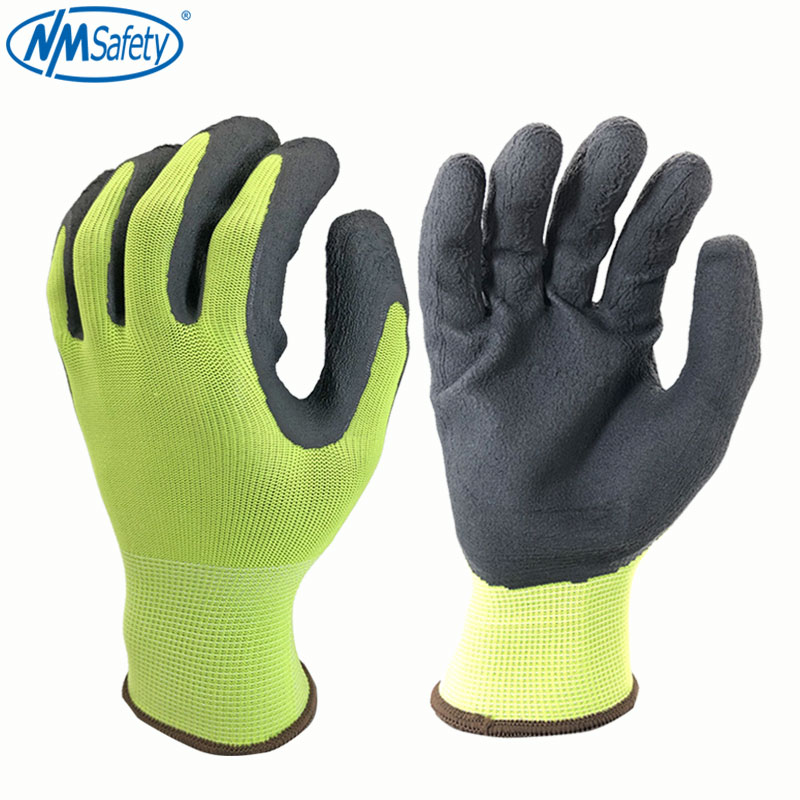 NMSafety Working Gloves Men or Women Polyester Black Foam Latex Crinkle Work Safety Gloves Protective GlovesNMSafety Working Gloves Men or Women Polyester Black Foam Latex Crinkle Work Safety Gloves Protective Gloves