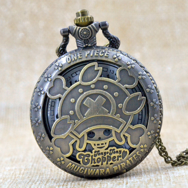 Hot Sales Antique Quartz Cartoon Anime One Piece Pocket Watch Necklace Good Qual