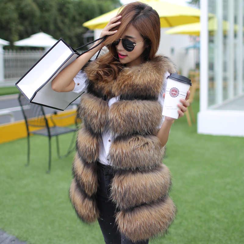 Женский модный женский жилет из меха енота, женский зимний жилет из натурального меха и кожи, женская теплая верхняя одежда, меховой жилет, пальто