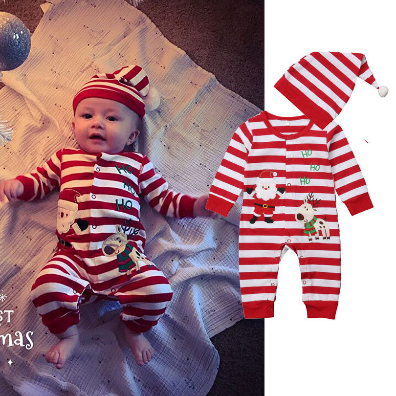 2018 Latest Childrens Wear Christmas Santa Deer Newborn Baby Kids