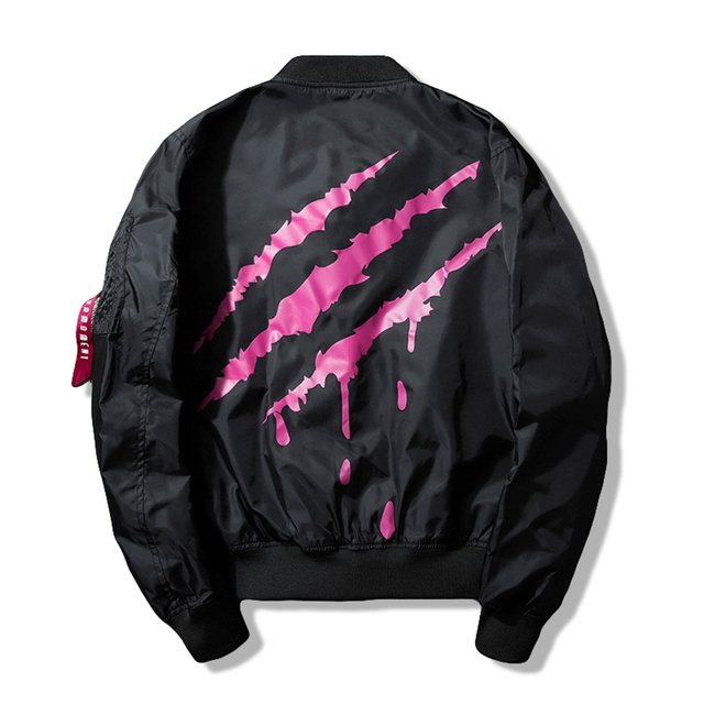 684986475 US $39.99 |New Street fashion Men Bomber MA1 jacket Retro Embroidery  Anarchy Coat Printing Paw print Black Red-in Jackets from Men's Clothing on  ...