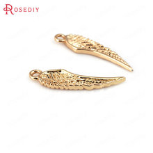 Jewelry-Accessories Charms-Pendants Wings 24K Plated Brass Gold-Color 6x24mm 10PCS Champagne
