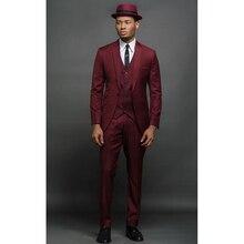 Custom Burgundy Men Suits Slim Fit Skinny Fashion Groom Tuxedos Men Blazer Prom/Party Suits 3 Pieces (Jacket+Vest+Pants) FA762