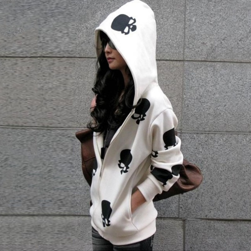 2017 New Product Women's Skull Zipper Sweater Hooded Cardigan Casual Hoodies   Jacket   Coat Tops
