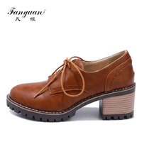 Fanyuan Shoes high heels 6 cm women Vintage round toe ladies safety shoes Cross tied dames schoenen Block Heel fascino shoes