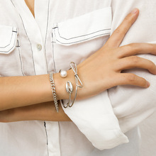 3Pcs Charm Bracelet Bangles Set 2019 Korean Fashion Pearl and Sea Shell for Women Gold/Silver Hand Chain Jewelry