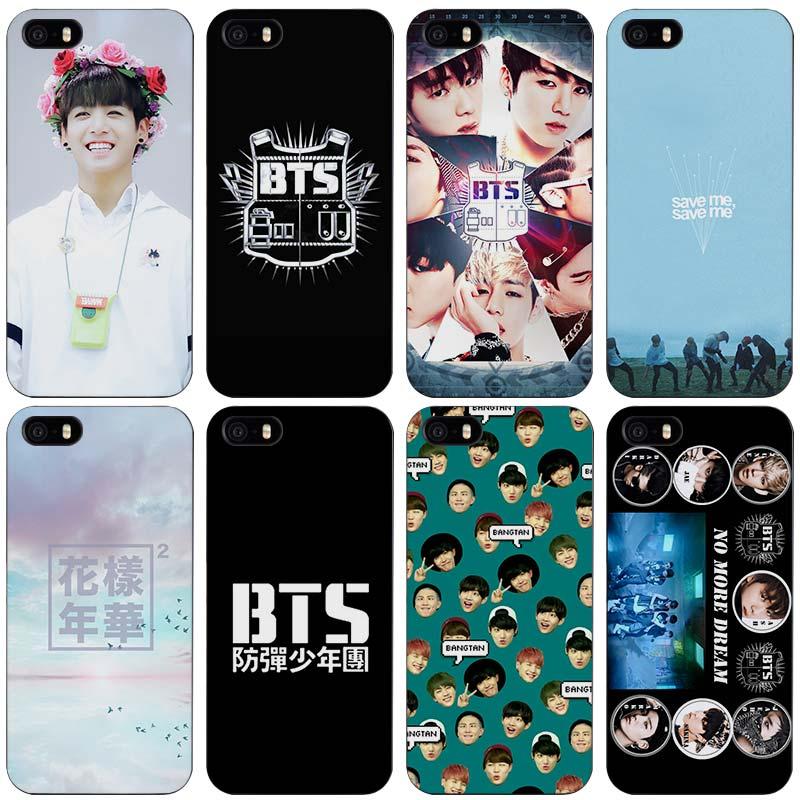 new product 2b924 b1653 Bts bangtan anak laki laki hitam plastik case penutup shell untuk iphone  apple 4 4 s 5 5 s 5c 6 6 s 7 se ditambah di Setengah dibungkus Kasus dari  ...