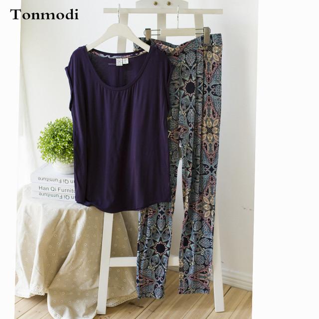 Pijamas para las mujeres modal más tamaño ropa de manga corta set sueño del Salón ropa de maternidad