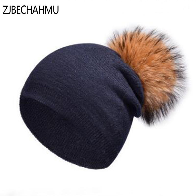 Real Fox Natural Raccoon Fur Pompom Hats Autumn Skullies Beanies Women New Fashion Solid Color Cap Winter Warm Female Cotton Hat(China)
