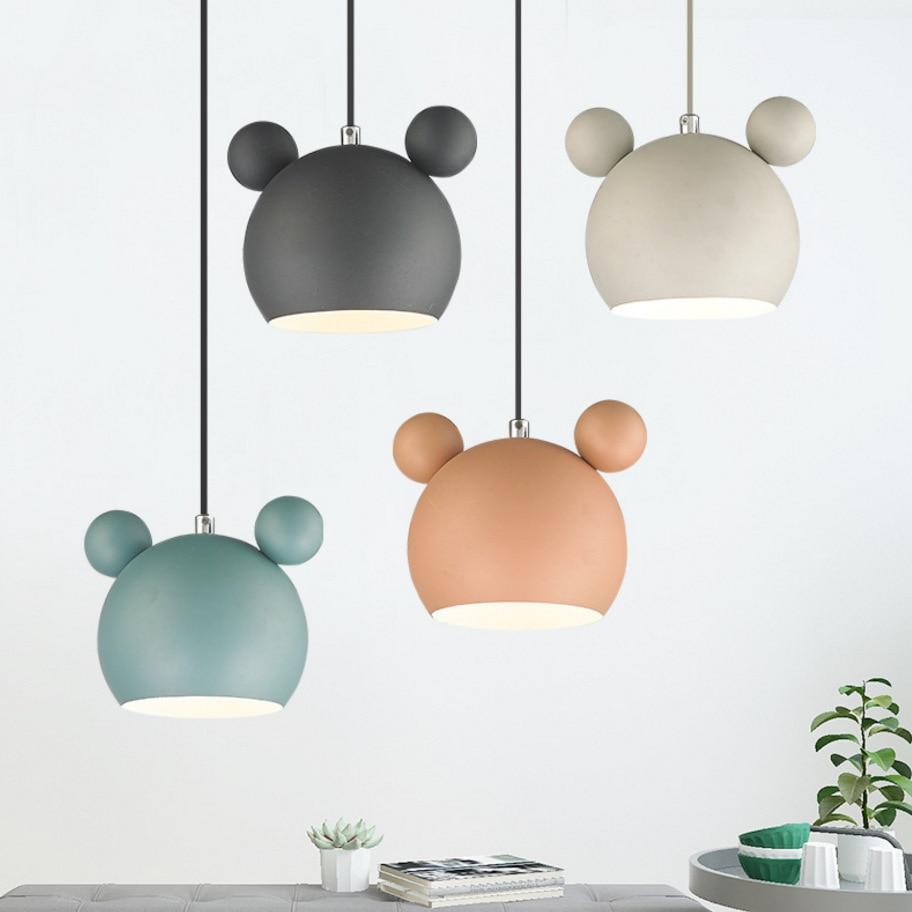 Modern Indoor Mickey Led Pendant Light Fixture Luminaire Nordic Colorful Metal Children Kids Hanging Lamp Bedroom Home Decor E27