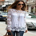 Casual 2017 Beautiful Women's Fashion Women Sheer Sleeve Embroidery Lace Crochet Tee Chiffon Shirt Blouse Free Shipping Oct 10