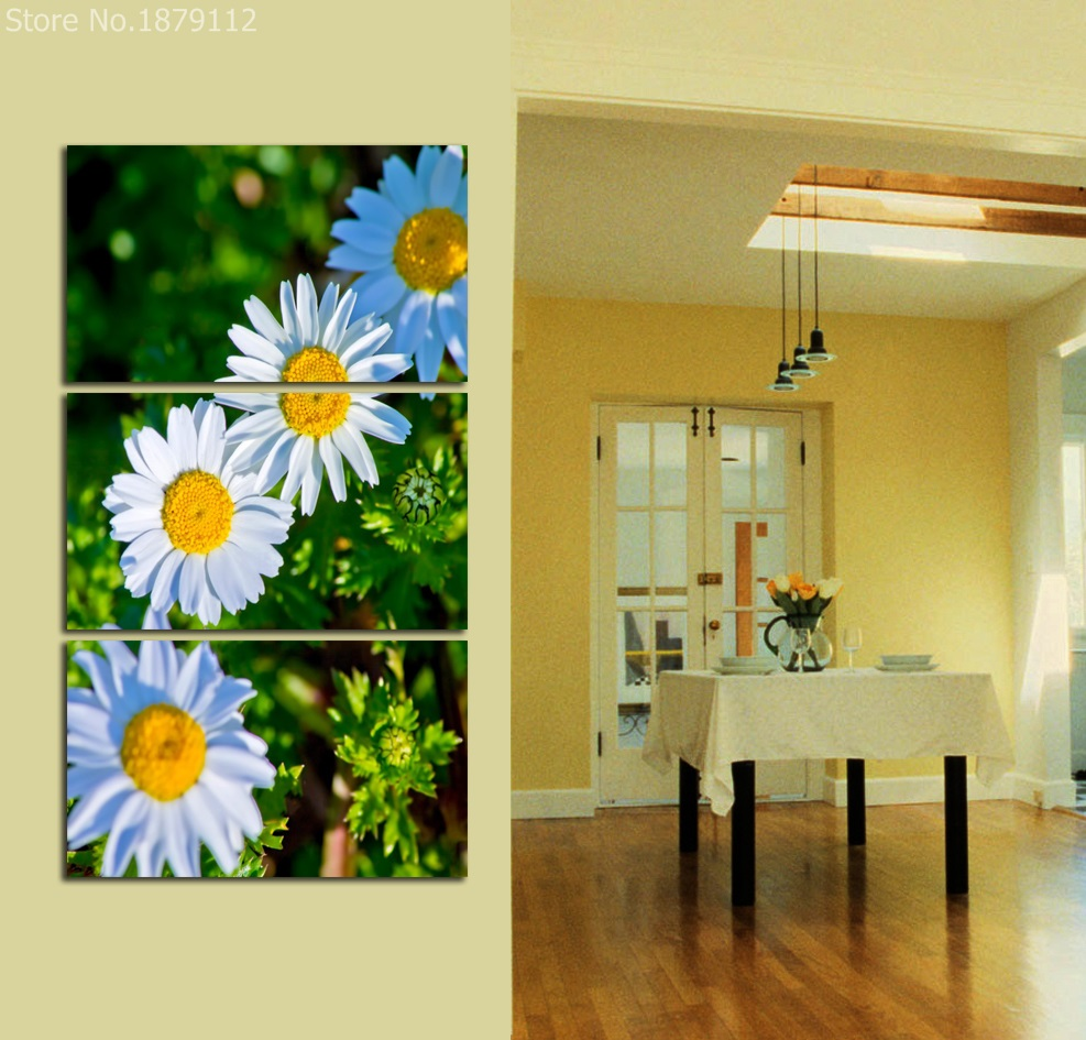 Aliexpress.com : Buy Frameless Canvas Painting White Daisy Flower ...