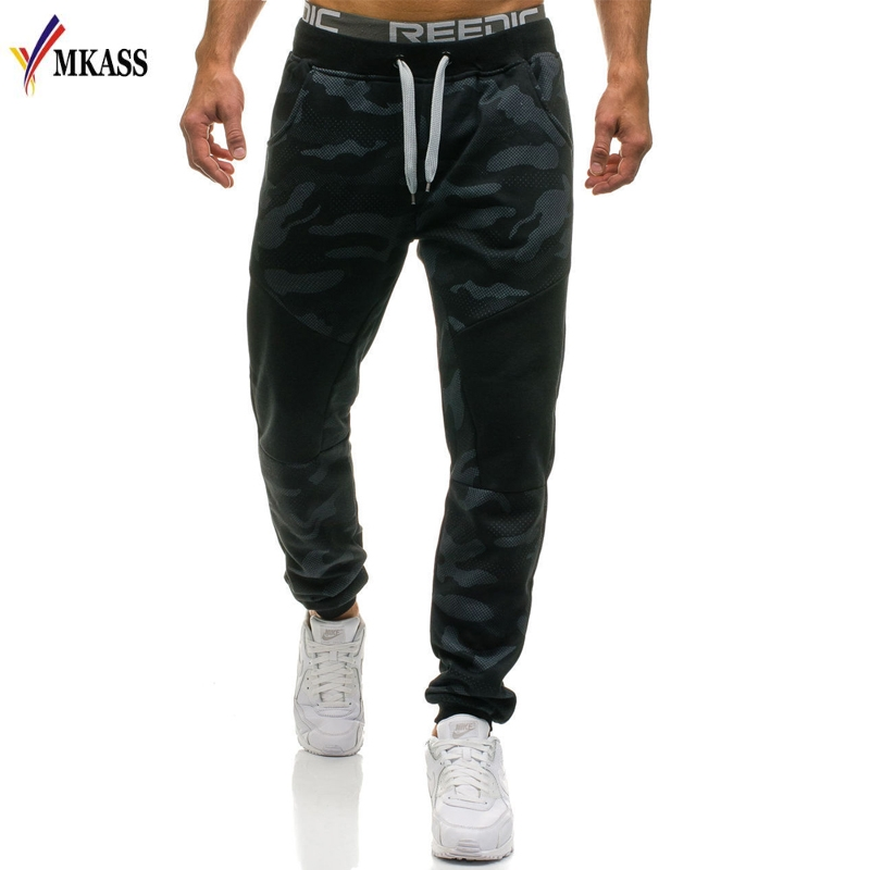 MKASS hombres pantalones marca masculina Pantalones rectos camuflaje pantalones largos algodón chándal Jogger Funky Sweatpants M-2XL