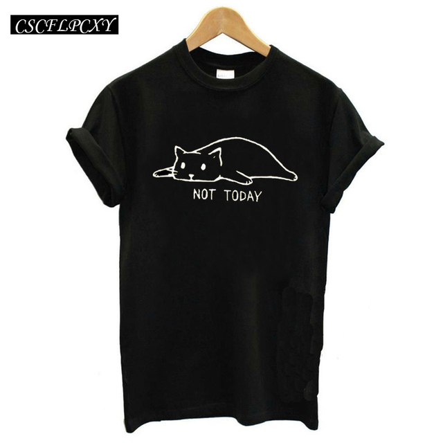 Funny Cat Graphic Tees Women Tshirt Not Today Print Kawaii T Shirt Women  Top Femme Ulzzang Cartoon Hippie Camisetas Mujer 2cbc69183699
