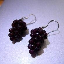 Новинка, серьги-капли из натурального граната, женские серьги из стерлингового серебра 925 пробы, дизайн виноградной Шап