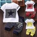 Мода Baby Boy Kid 2 шт. Набор ЗВЕЗДА Спортивной Футболки Топы Шорты Наряд Костюмы Дети Симпатичные Одежда Наборы
