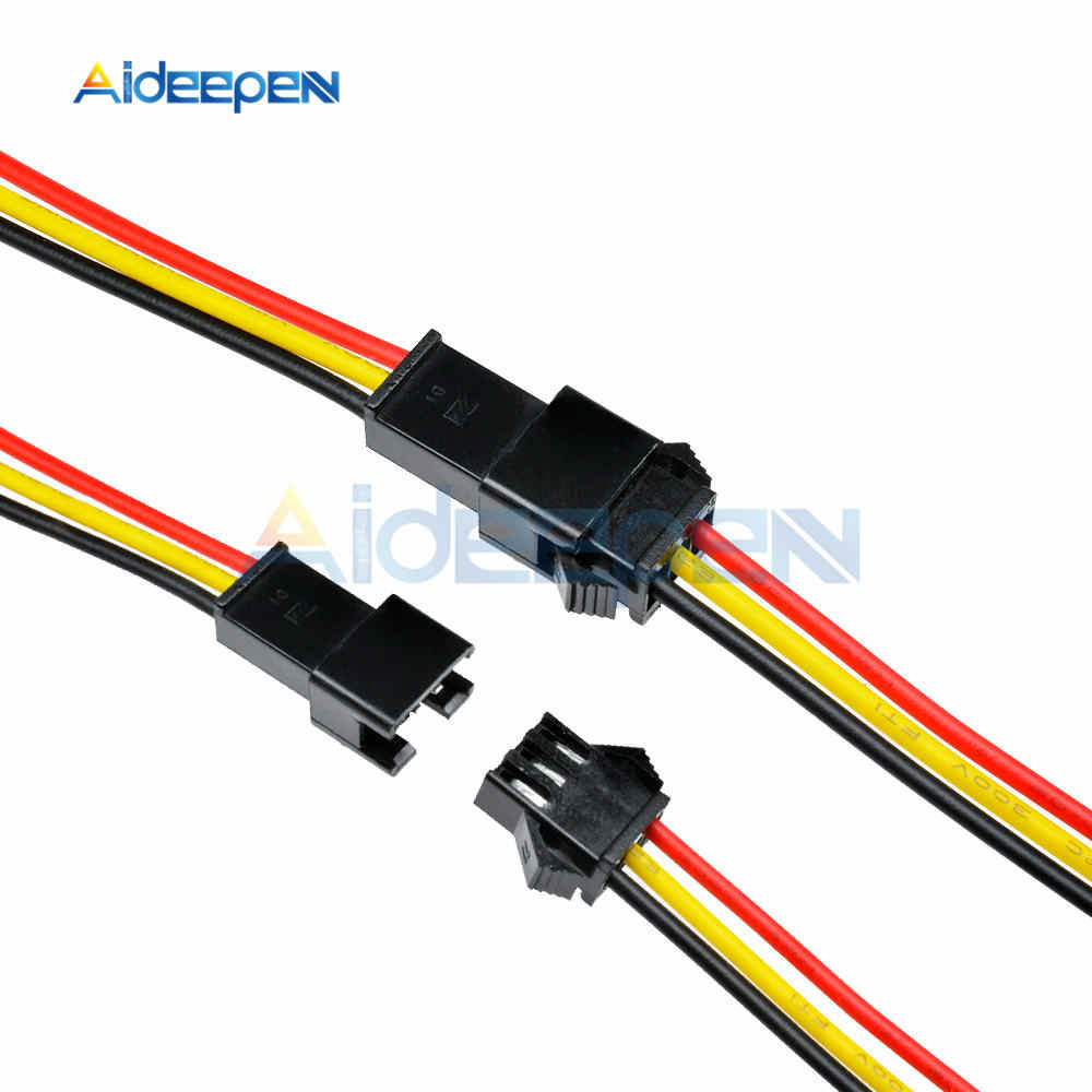 5 Pairs 10 Pairs 3 Pin 3 Pins 10CM/15CM/30CM 3mm Long JST SM Plug Male to Female Wire Connector for LED Strip Light Lamp Driver