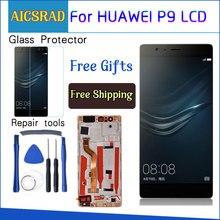 """AICSRAD 5.2 """"HUAWEI P9 ekran dokunmatik ekran digitizer için çerçeve ile P9 LCD ekran EVA L09 EVA L19 yedek"""
