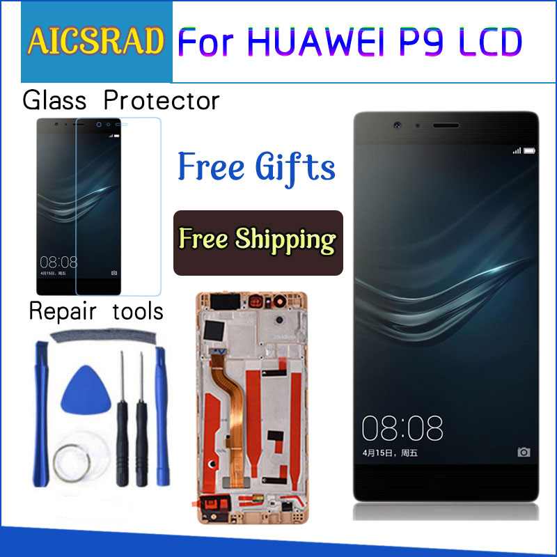 """AICSRAD 5.2"""" LCD For HUAWEI P9 Display Touch Screen Digitizer with Frame for HUAWEI P9 LCD Display EVA L09 EVA L19 Replacement-in Mobile Phone LCD Screens from Cellphones & Telecommunications"""