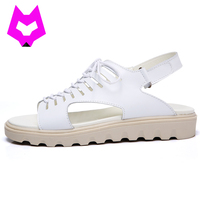 Wolf Who Summer Platform Sandals Shoes Woman Gladiator Lace Up Genuine Leather Non Slip Sandals Zapatos