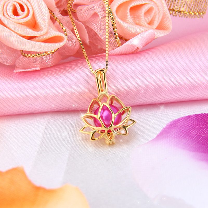 Cluci 925 Sterling Silver Women Necklace Jewelry Lotus Flower Cage