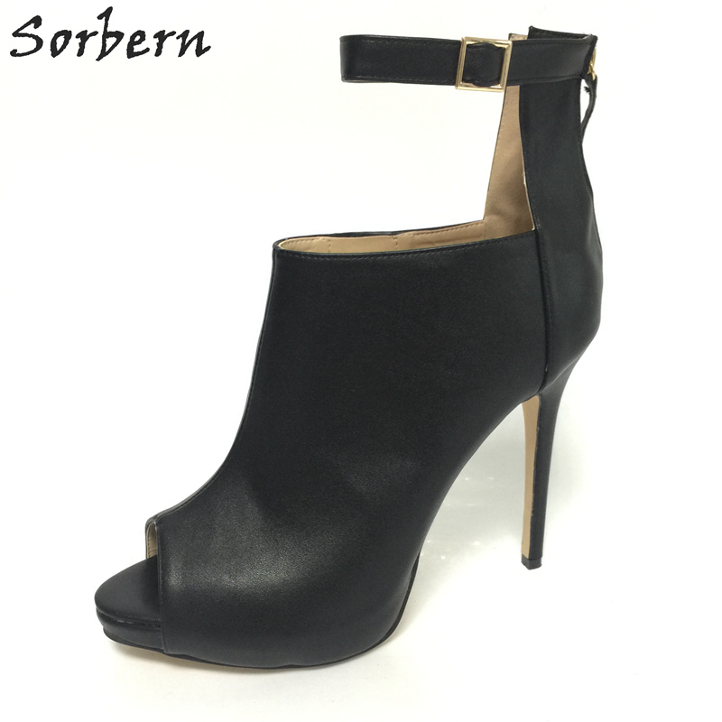 Sorbern Women Designers Shoes Woman Shoes Sexy High Heel Ankle Straps Back Zipper Peep Toe Stilettos Platform Pump Heels Size 43