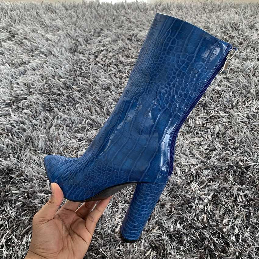 2019 merk mode vrouwen laarzen sexy hoge hakken enkel laarzen voor vrouwen bont warme laarzen winter en herfst vrouw schoenen plus size 4-11