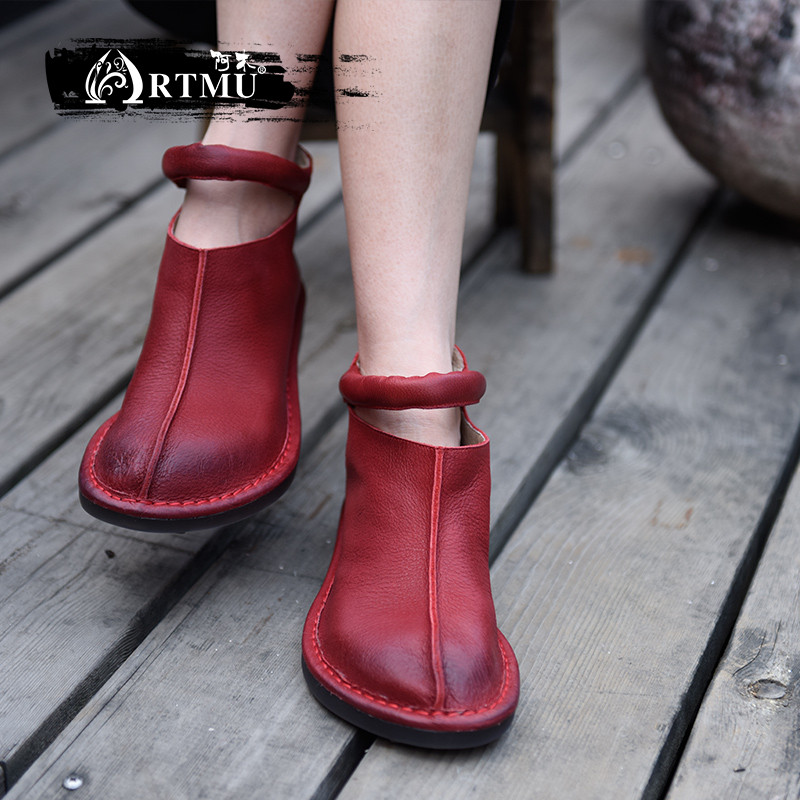 Artmu Original Women Boots Handmade Leather Shoes Mary Jane Vintage Shoes Woman Red Dress Shoes Wedding