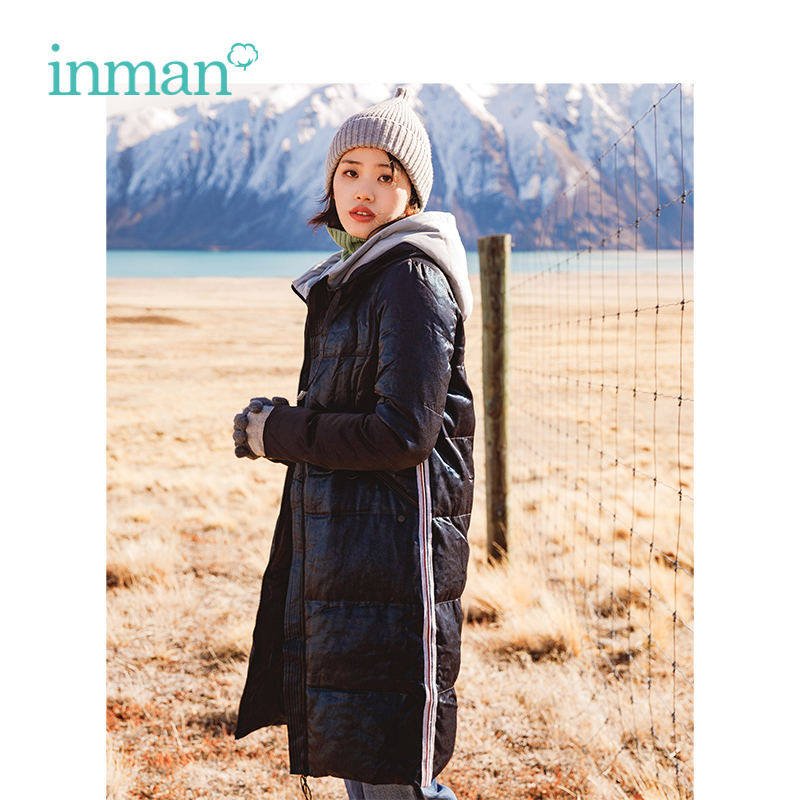 INMAN ฤดูใบไม้ร่วงใหม่มาถึงหญิงเก๋สไตล์ความคมชัดสี Hooded PatchWork ยาวส่วนลงเสื้อ-ใน เสื้อโค้ทดาวน์ จาก เสื้อผ้าสตรี บน   1