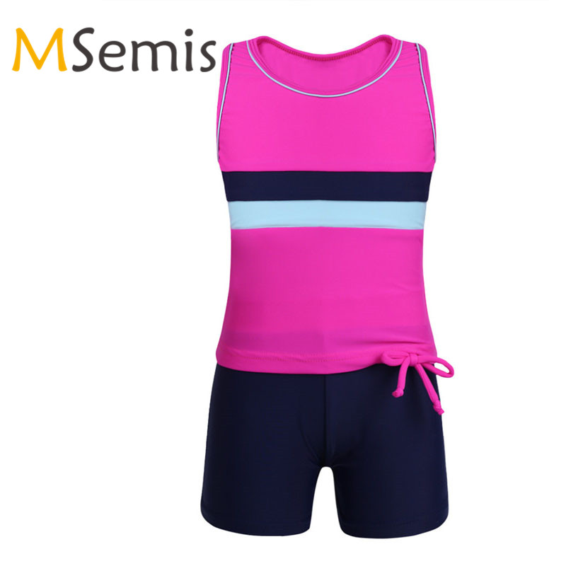 2PCS Girls Ballet Tankini Shorts Swimsuit For Dancing Gymnastics Leotard Swimwear Set Childs Dance Tops With Ballet Bottoms Suit
