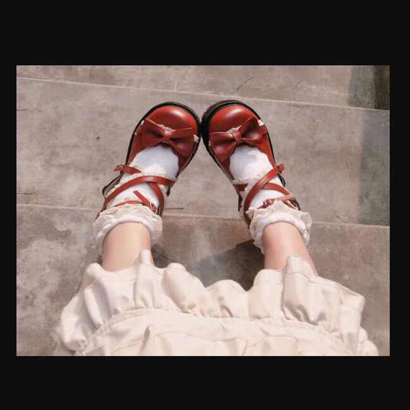 BOYUTU 35 ~ 40 bahar lolita ayakkabı kadın Yeni 2019 yaz Japon tarzı moda tatlı sevimli yay hizmetçi arkadaşlar cosplay ayakkabı bayan