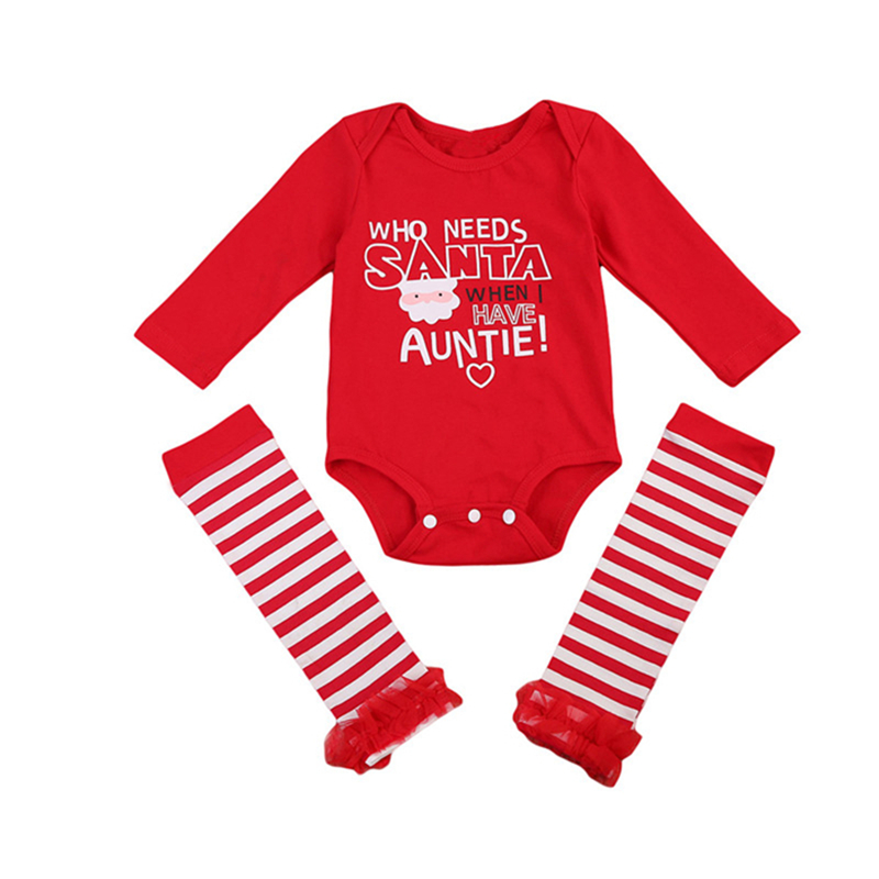 Xmas Baby Cotton Clothes Set Pretty Newborn Baby Girls Red Romper Socks Christmas 2pcs 2017 New Outfits Set Costume Clothes 0-2Y