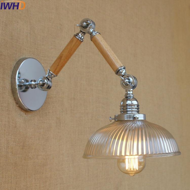 IWHD Swing Arm Wandlamp Loft Style LED Wall Lamp Vintage Industrial Arm Wall Sconce Applique murale Luminaire Moderne Arandela