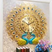 Double Peacock Wall Clock 3D Big Wall Watch Home Decor Digital Clock Wall Modern Design Living Room Bedroom Silent Wall Clocks