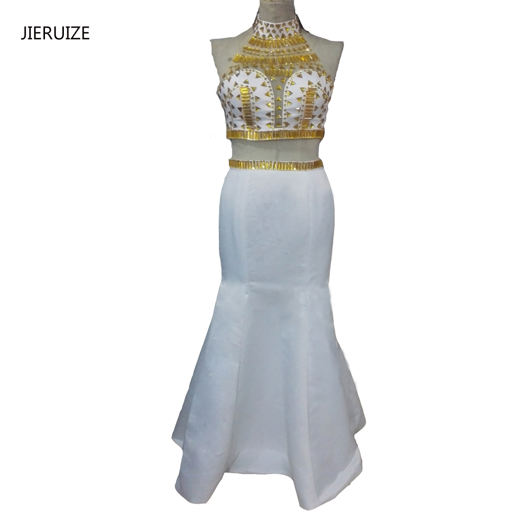 JIERUIZE White And Gold Crystals Two Pieces Prom Dresses 2 Pieces ...