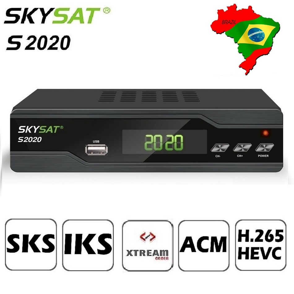 SKYSAT S2020 Twin Tuner Satellite Receiver IKS SKS ACM Xtream M3U PowerVu stable server Full HD Channels DVB-S2 TV Box