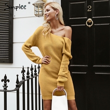 Simplee Off shoulder knitted sexy dress Backless cross fashion long sleeve women dresses 2018 Autumn winter casual sweater dress