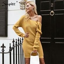 Simplee מהכתף סרוגה סקסי שמלה ללא משענת צלב אופנה ארוך שרוול נשים שמלות 2018 סתיו החורף מקרית סוודר שמלה
