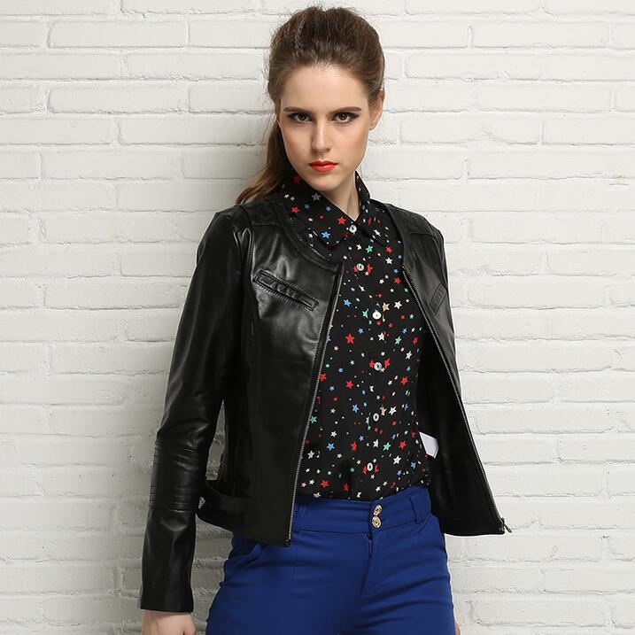 female short design sheepskin coats womens motorcycle genuine   leather   jacket women jaqueta de couro motoqueiro outerwear spring