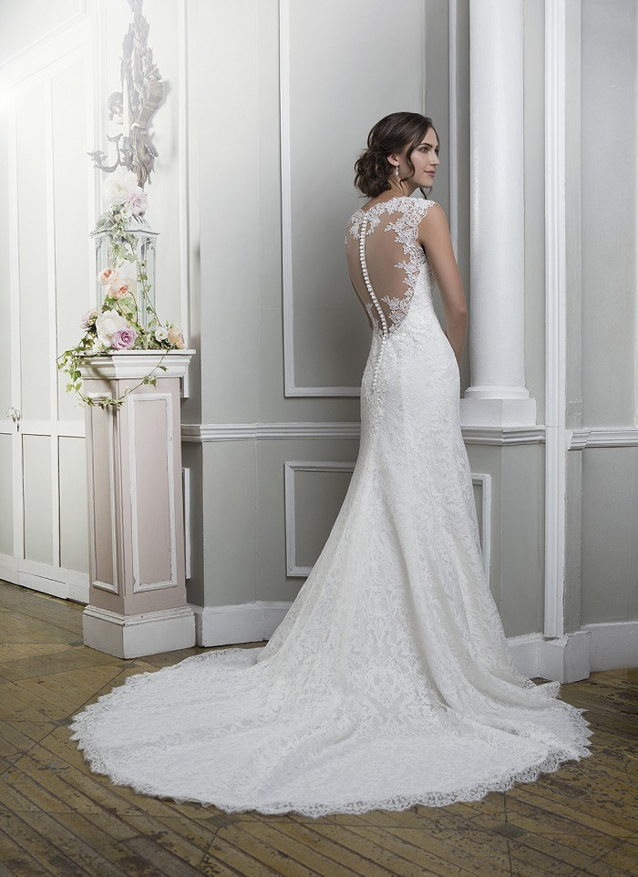 New Design A Line Wedding Dress Lace Fit and Flare Illusion Back ...