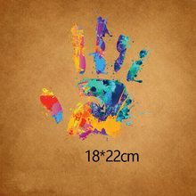 Buy Fashion Colorful palm 18x22cm Iron On Stickers Washable Appliques A-level Patches Heat Transfer For DIY Accessory Clothes Jeans directly from merchant!