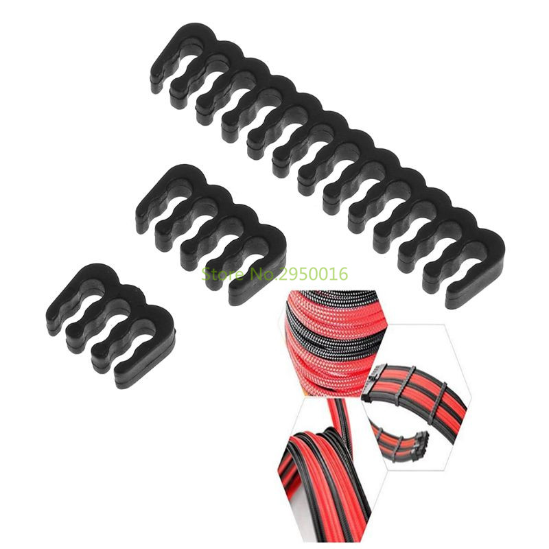 Black PP Cable Comb /Clamp /Clip /Dresser For 3.0-3.2 Mm 6/8/24 Pin Sleeving Cables C26