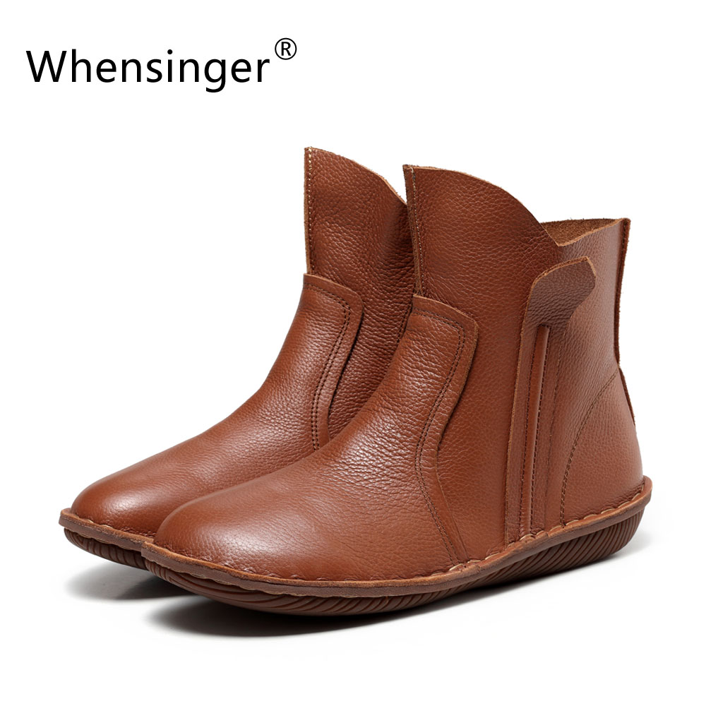 Whensinger 2017 New Women Genuine Leather Fashion Boots Fashion Shoes Zip Design Size 35 42