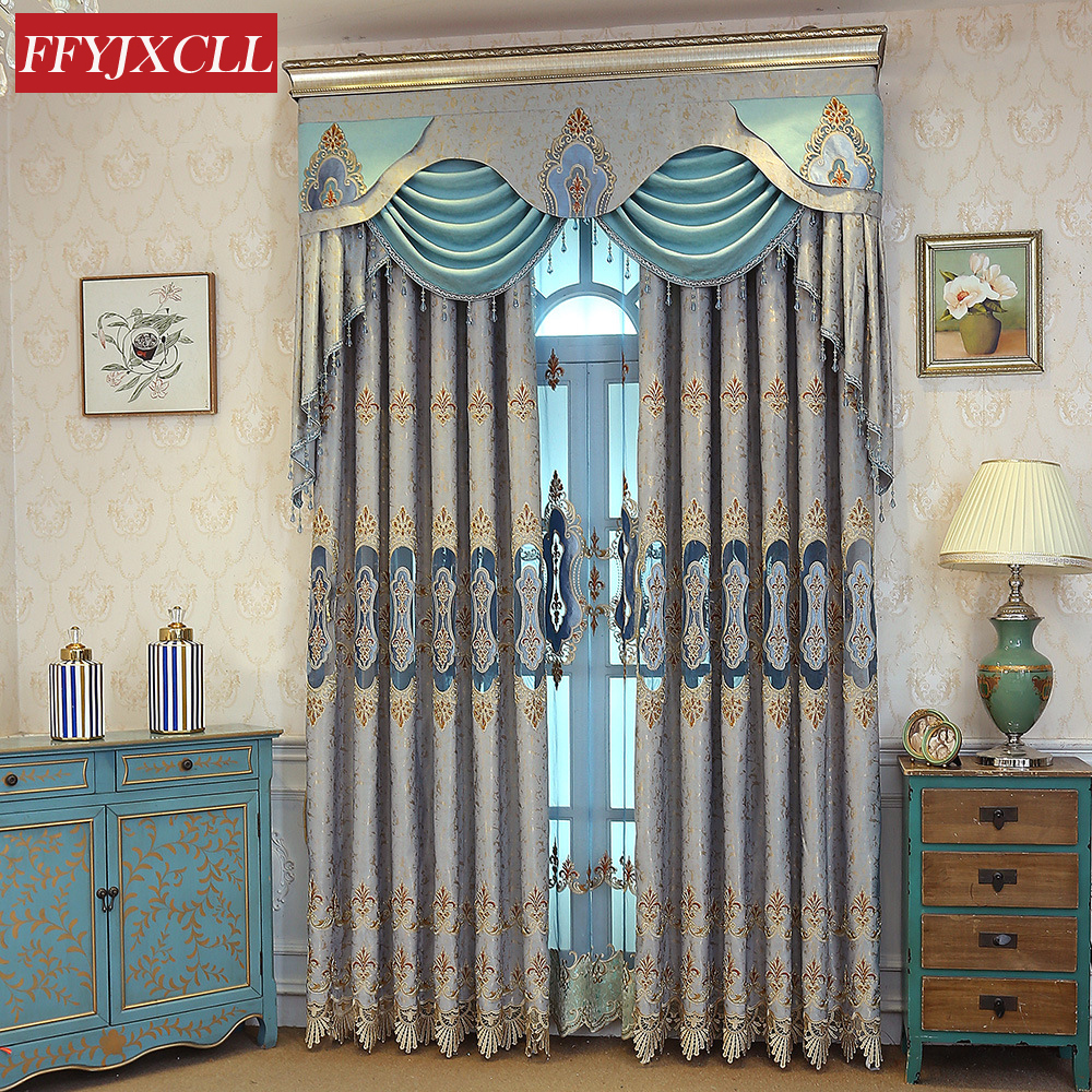 Jacquard Luxury Villa Curtains For Living Room Bedroom Kitchen Valance Window  Curtains Drapes Hotel Home Decoration