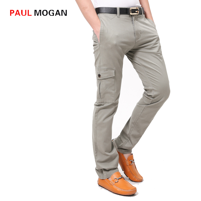 2b0d6ab8b1 Paul Mogan marca 2017 pantalones de algodón para hombres de moda gris  Oscuro diseño bolsillo de los pantalones pantalones de los hombres  Ocasionales ...