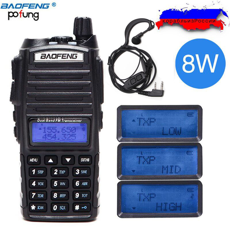 2018 Baofeng UV-82 Plus 8 W 10 KM Lange Palette Leistungsstarke Walkie Talkie Tragbare CB vhf/uhf zwei weg radio Amador 8 watt von UV82 Plus