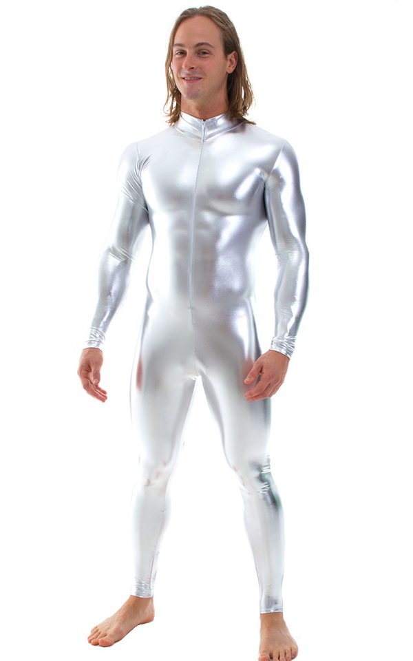 Full Bodysuit Zentai Lycra Spandex Suit For Men Zipper Catsuit Mock Neck Unitard Silver Zentai Suit Halloween Cosplay Costumes Лосины