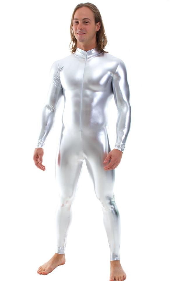Full Bodysuit Zentai Lycra Spandex Suit For Men Zipper Catsuit Mock Neck Unitard Silver Zentai Suit Halloween Cosplay Costumes